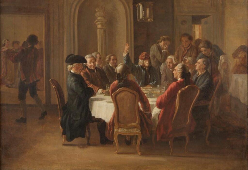 Le Dîner des philosophes(vers 1772-1773), huile sur toile de Jean Huber